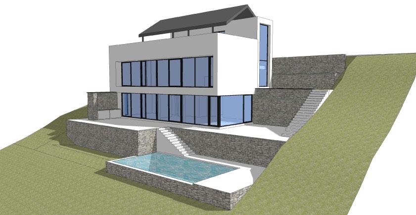 maison contemporaine avec piscine sur versant wavre herv vanden haute. Black Bedroom Furniture Sets. Home Design Ideas