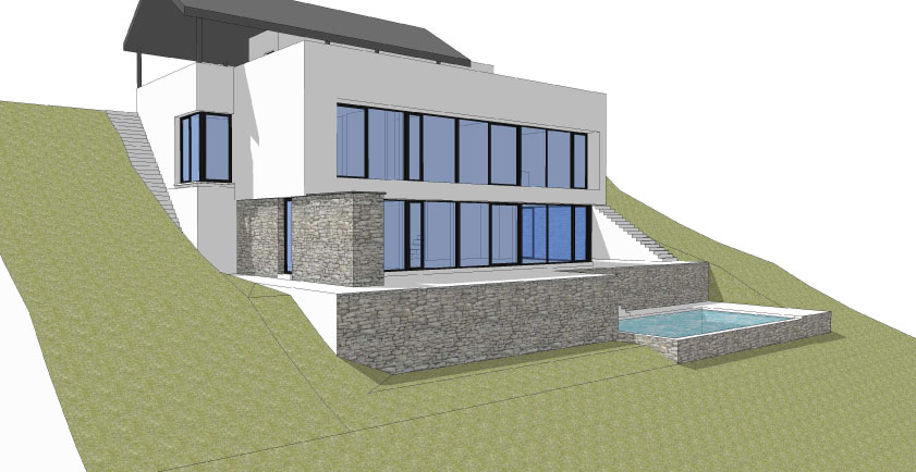 Maison contemporaine avec piscine sur versant wavre for Construction piscine brabant wallon