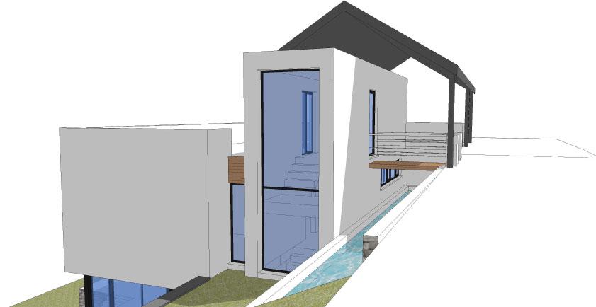 Maison contemporaine avec piscine sur versant wavre for Construction piscine urbanisme