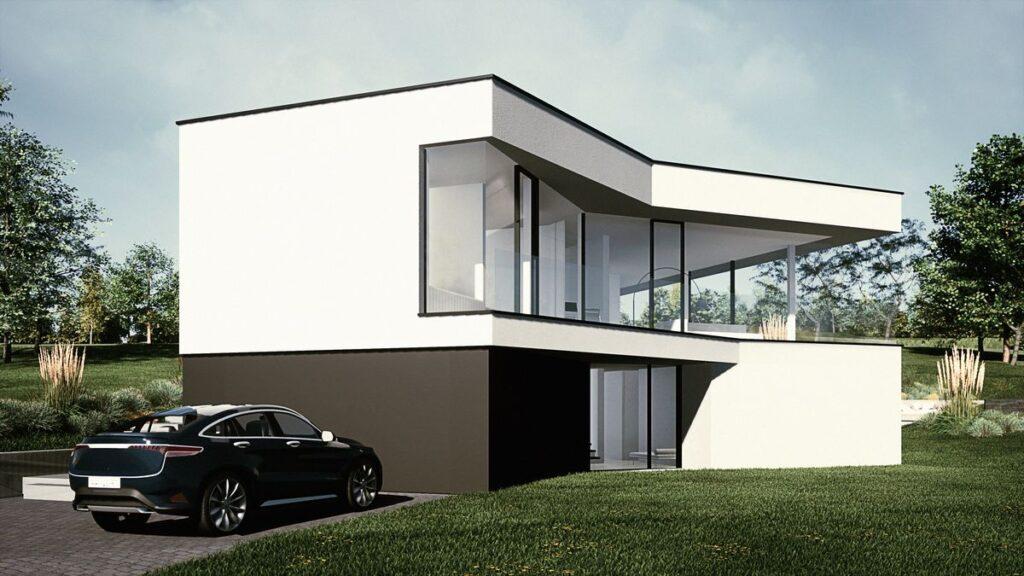 vue latérale d'une villa contemporaine