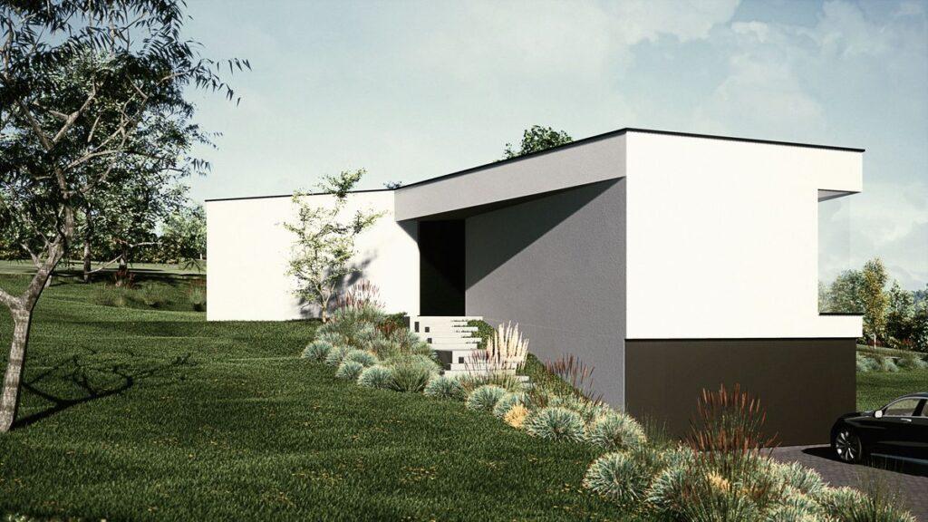 villa contemporaine avec escalier et toiture plate